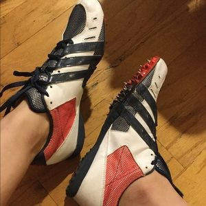 ADIDAS track spike running shoes red white & blue